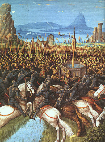 Artistic depiction of the Battle of Hattin in 1187, where Jerusalem was recaptured by Saladin's Ayyubid forces