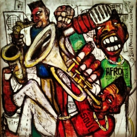 2014 Afro Beat Jam Session art by Marcellous Lovelace