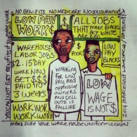 2014 Clean Uniforms Warehouse Slave Labor art by Marcellous Lovelace