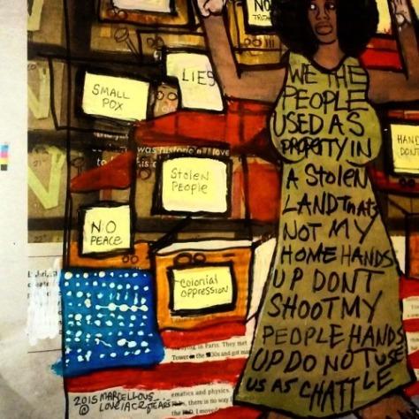 2015 Hands Up In a Prison System art Marcellous Lovelace