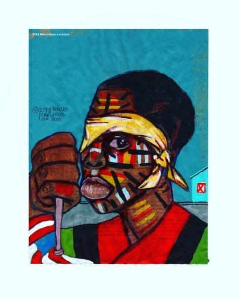 2018 Unhappy Black On Stolen Land art by Marcellous Lovelace